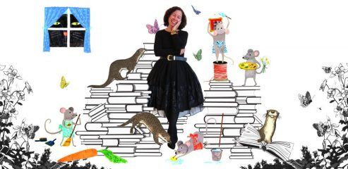 vivian with illustrated books and characters surrounding her