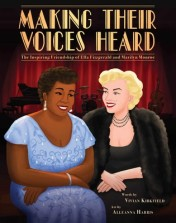 Cartoon illustration of Ella Fitzgerald and Marilyn Monroe
