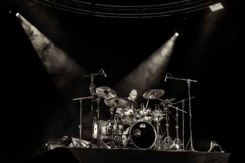 drum set in spotlights