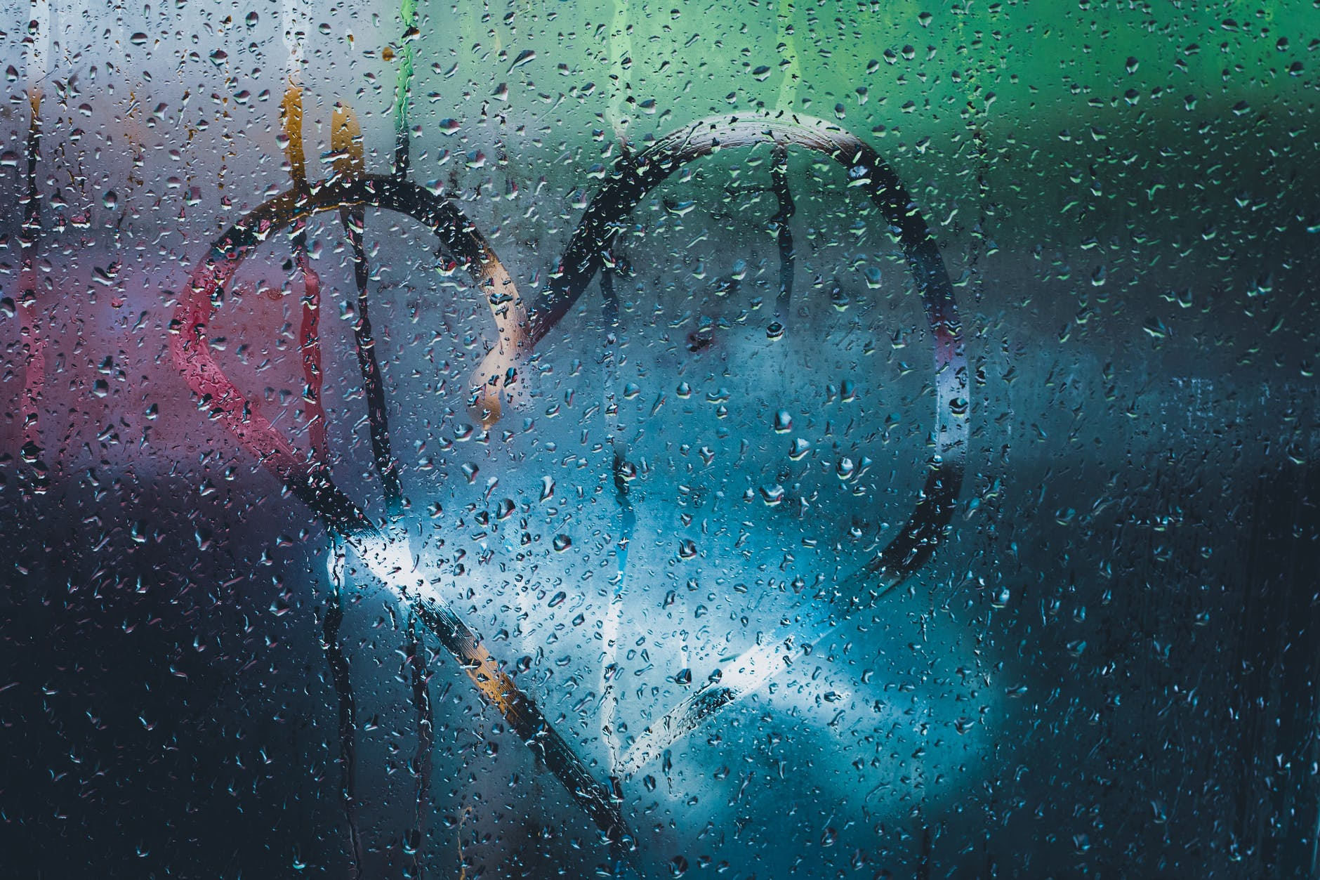 heart drawn on window