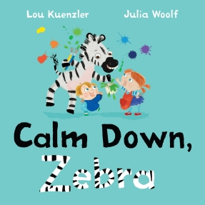 cover with cartoon zebra and boy and girl