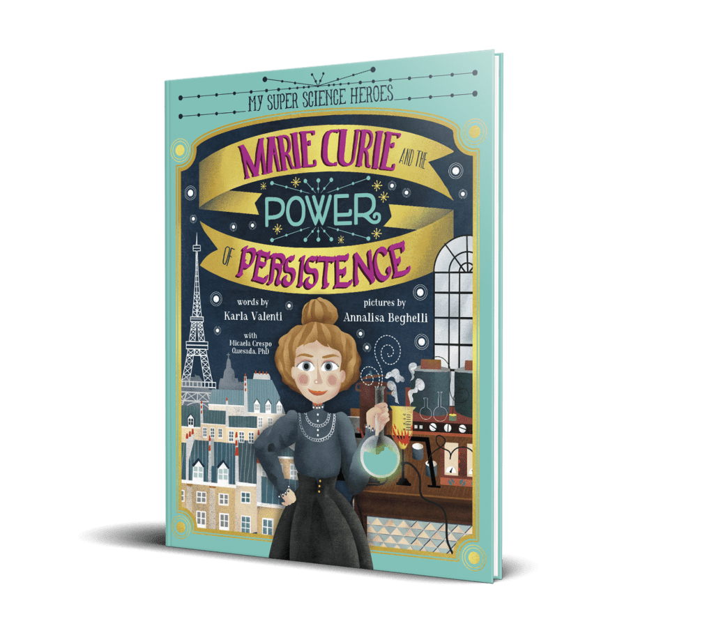 cover with cartoon marie curie